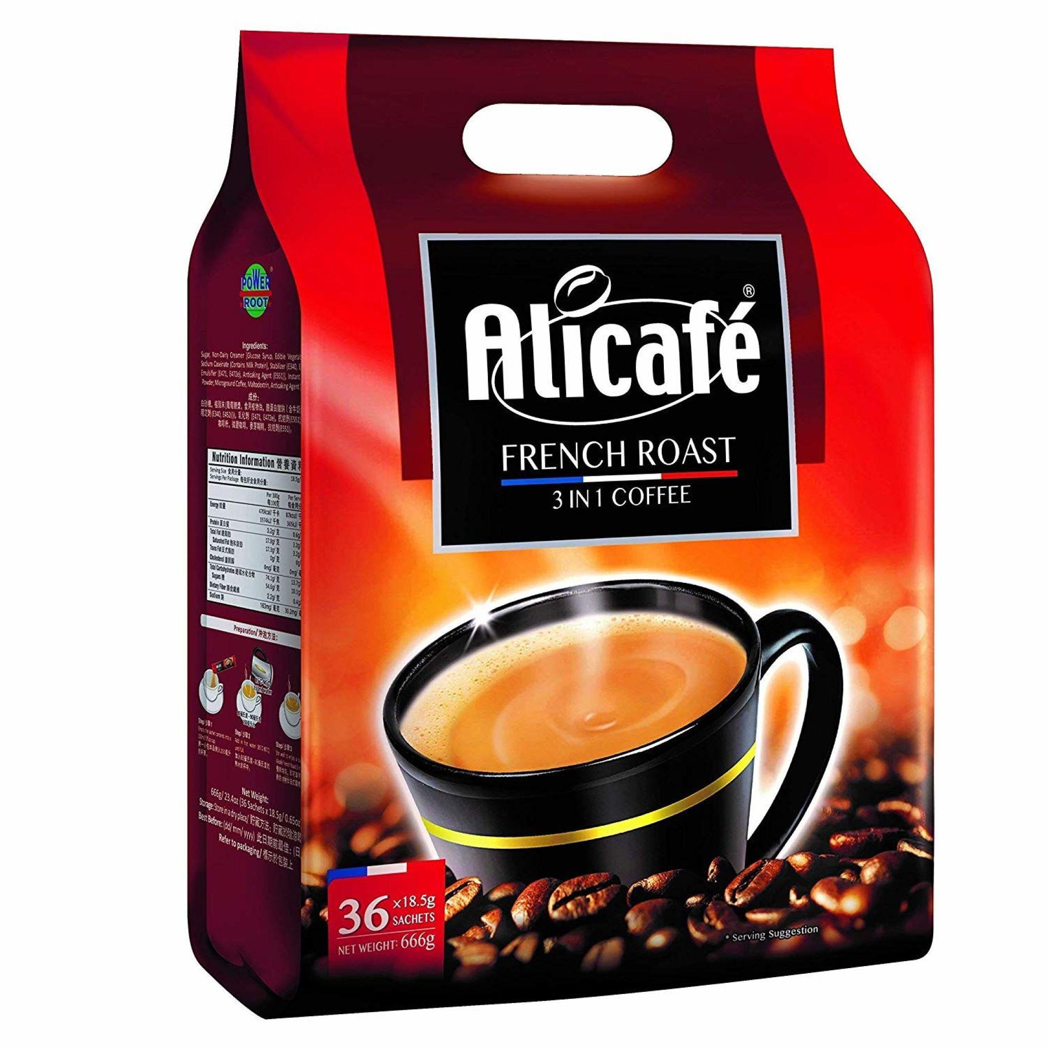 بسته 36 عددی پودر قهوه فوری علی کافه کلاسیک مدل فرنچ رست خرید اینترنتی قهوه دمنوش چای قوه های فوری هات چاکلت