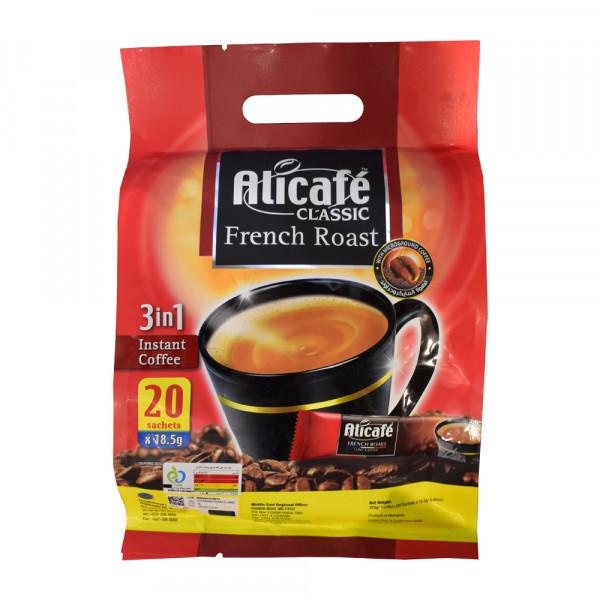 بسته 20 عددی پودر قهوه فوری علی کافه کلاسیک مدل فرنچ روست خرید اینترنتی قهوه دمنوش چای قوه های فوری هات چاکلت