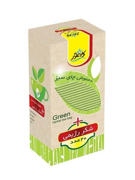 خرید آنلاین دمنوش چای سبز به همراه شکر رژیمی کامور فروشگاه اینترنتی وجیسنک محصولات رژیمی کامور بدون قند