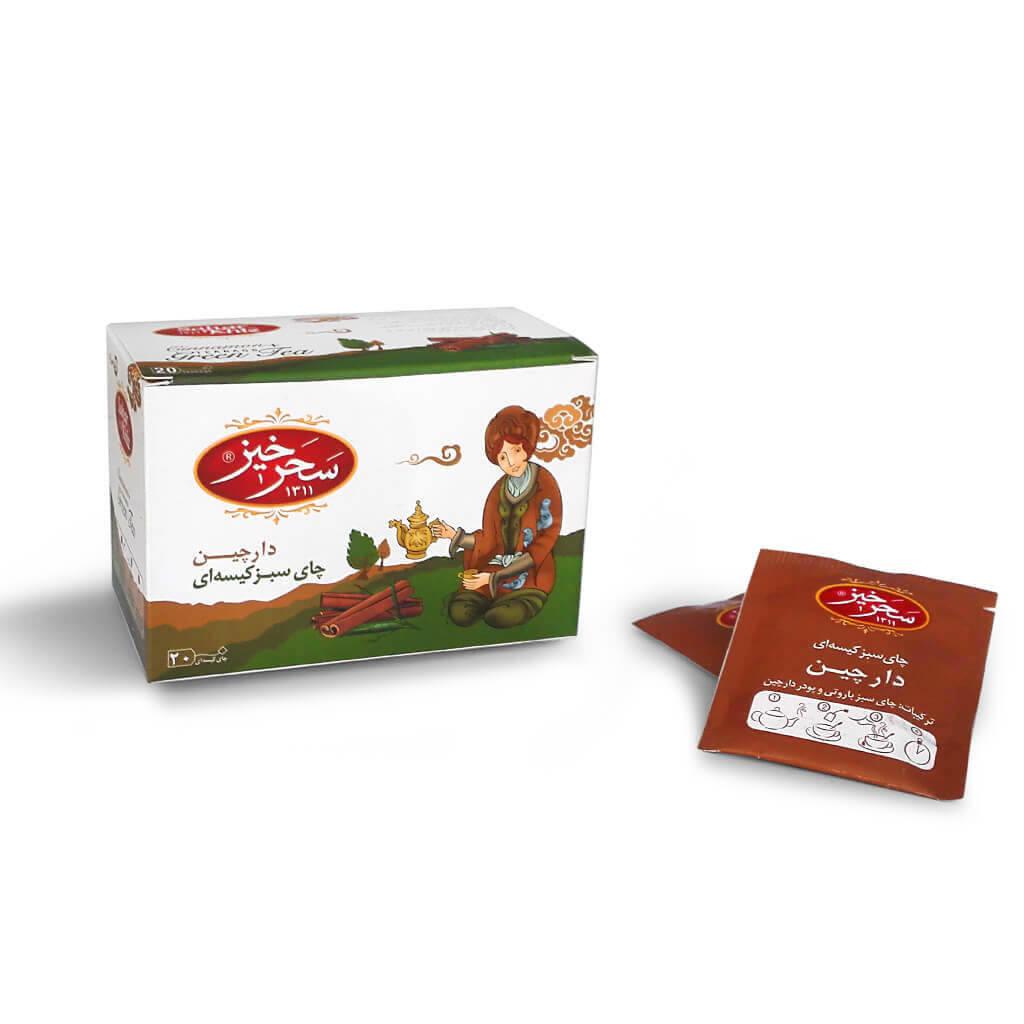 فروش و خرید انلاین محصولات سحرخیز چای سبز کیسه ای با طعم دارچین سحرخیز بسته 20 عددی فروشگاه اینترنتی انلاین وجیسنک عمده