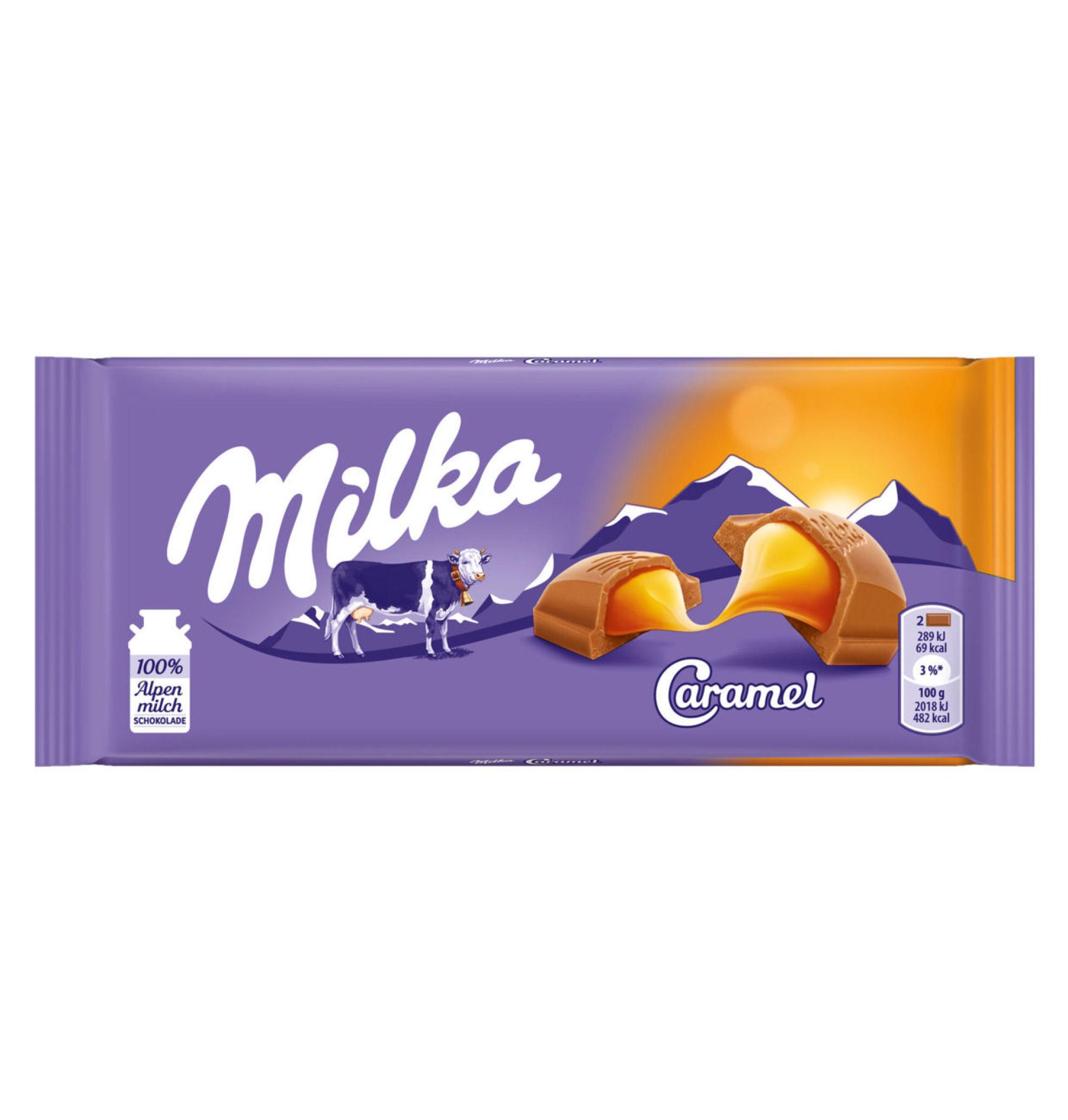 خرید اینترنتی شکلات تابلت شیری مدل کاراملی میلکا شهر شکلات فروشگاه اینترنتی وجیسنک milka
