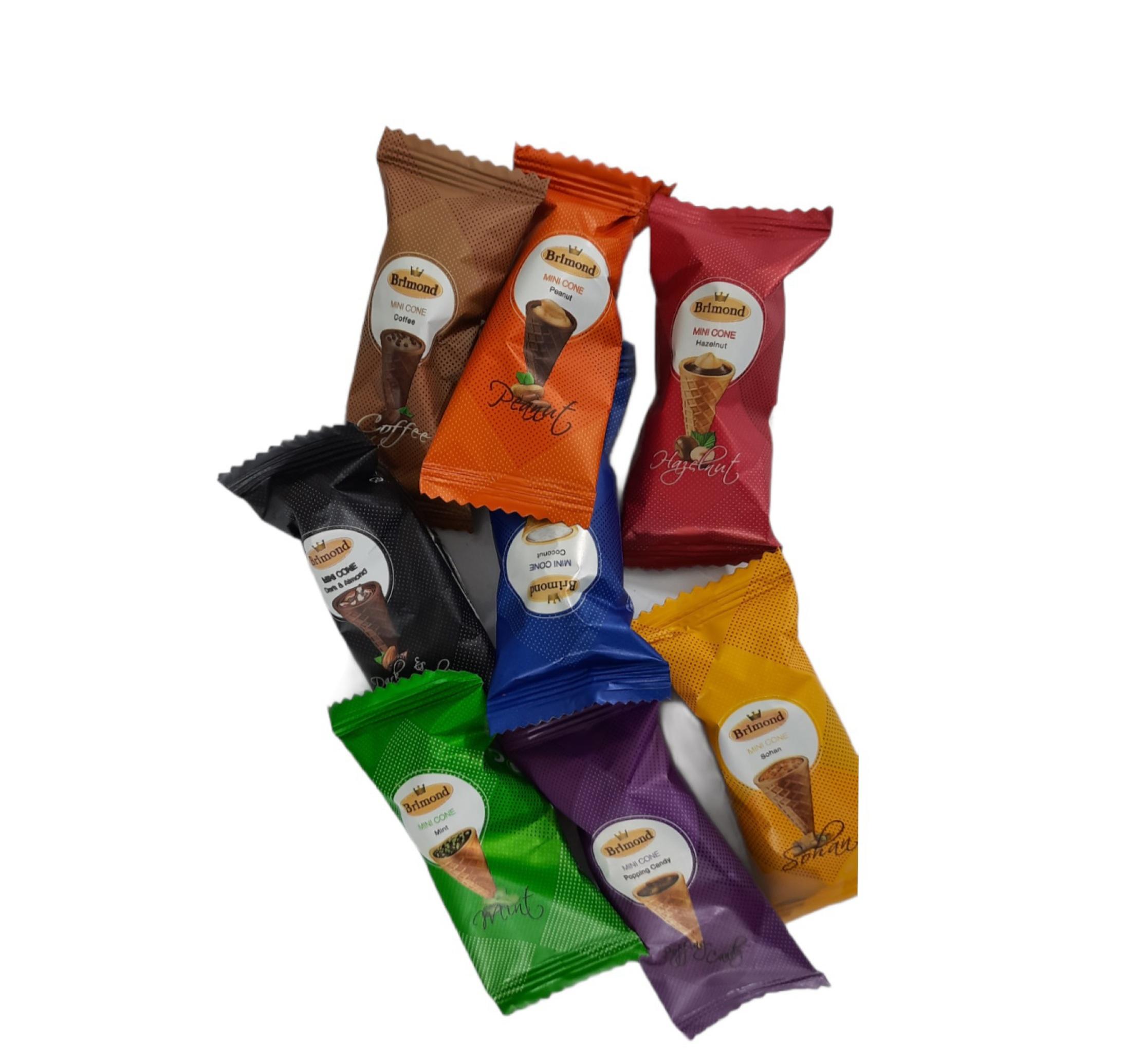 شکلات قیفی بریموند رنگین کمان کاله سوربن فروش عمده و خرده انواع شکلات وجی اسنک و وجیسنک
