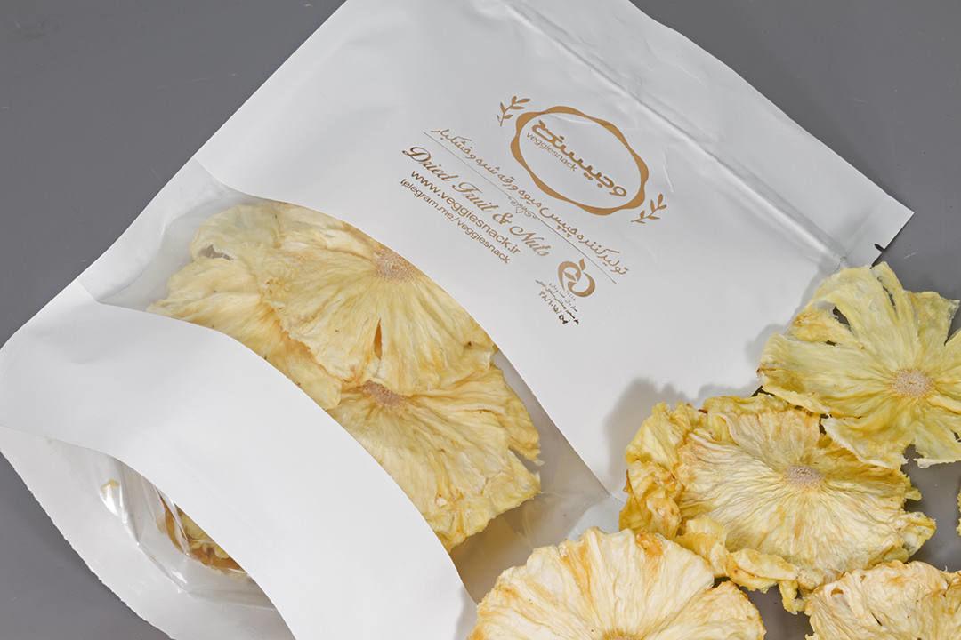 میوه خشک اناناس طبیعی وجیسنک اناناس خشک خرید انلاین چیپس میوه میوه های استوایی کرنبری گوجی بری اپریکات پوملو اناناس رنگ