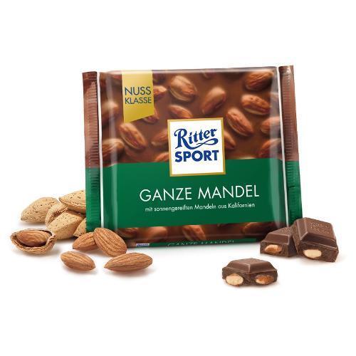 خرید اینترنتی شکلات 100 گرمی Ritter Sport مدل ganze mandel شهر شکلات فروشگاه اینترنتی وجیسنک