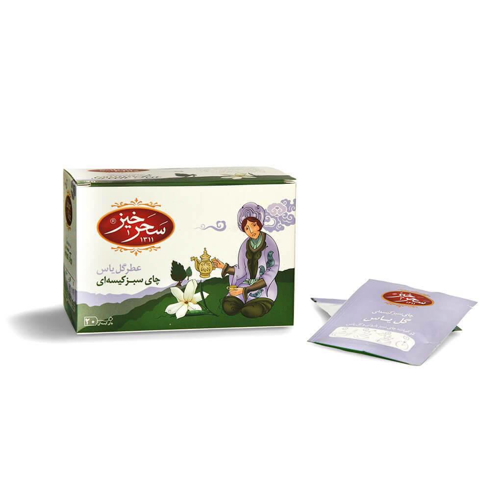 چای سبز کیسهای گل یاس سحرخیز بسته 20 عددی فروشگاه اینترنتی وجیسنک خرید انلاین قیمت خرید چای دمنوش قهوه فوری نسکافه بازا