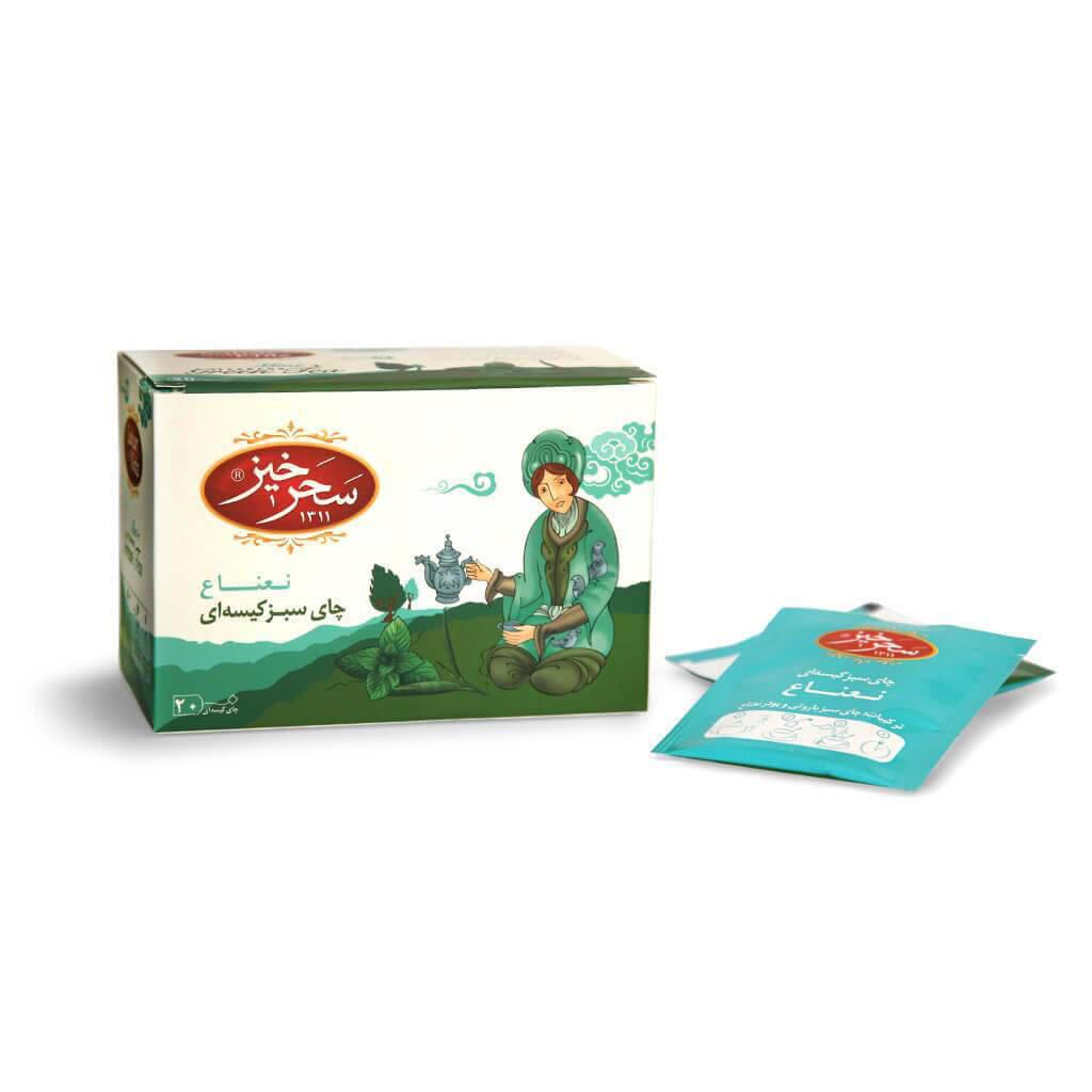 خرید انلاین قهوه و چای از فروشگاه اینترنتی وجیسنک چای سبز کیسهای نعناع سحرخیز بسته 20 عددی خرید اینترنتی رایگان کد تخفی