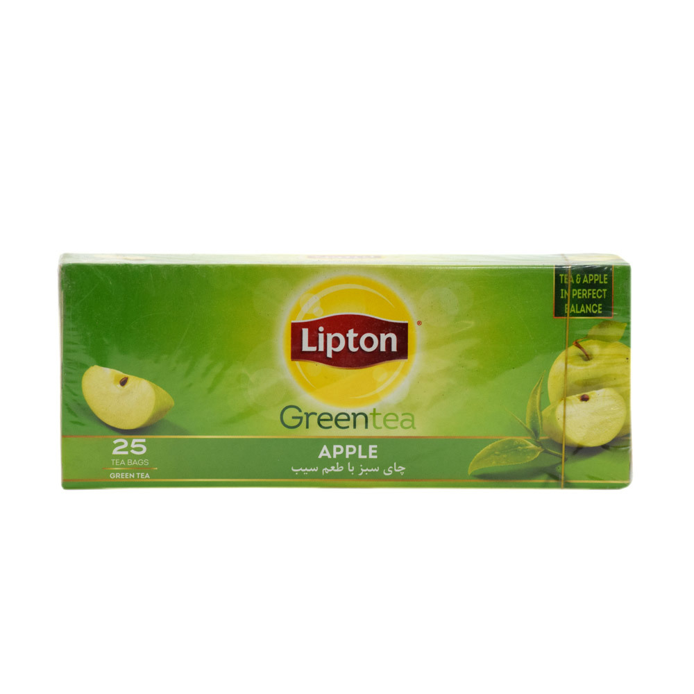 خرید آنلاین چای سبز با طعم سیب 25 عددی لیپتون فروشگاه اینترنتی وجیسنک محصولات و دمنوش های گیاهی لیپتون lipton