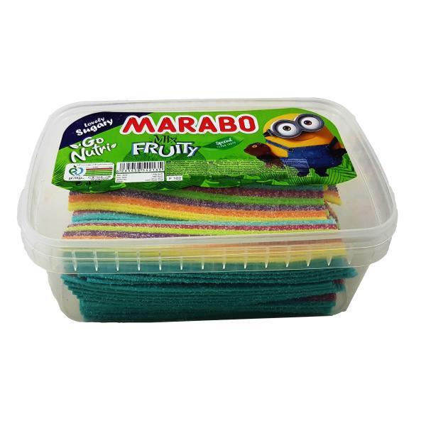 پاستیل نواری شکری با طعم میوه مارابو مقدار 900 گرم خرید اینترنتی پاستیل ارزان وجیسنک فروشگاه انلاین پاستیل قافلانکوه
