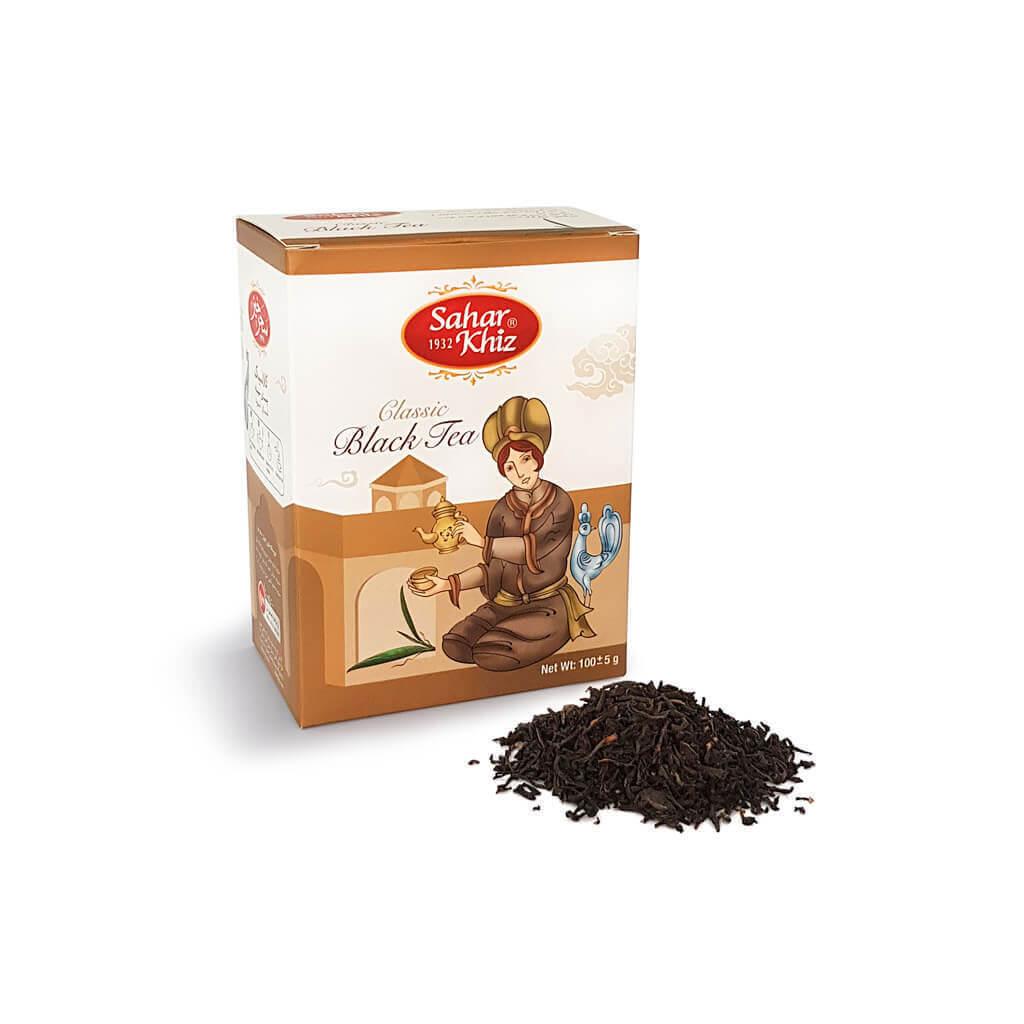 قیمت عمده و خرده چای کلاسیک 100 گرم پاکتی سحرخیز فروشگاه اینترنتی وجیسنک خرید انلاین محصولات سحر خیز چای سیاه
