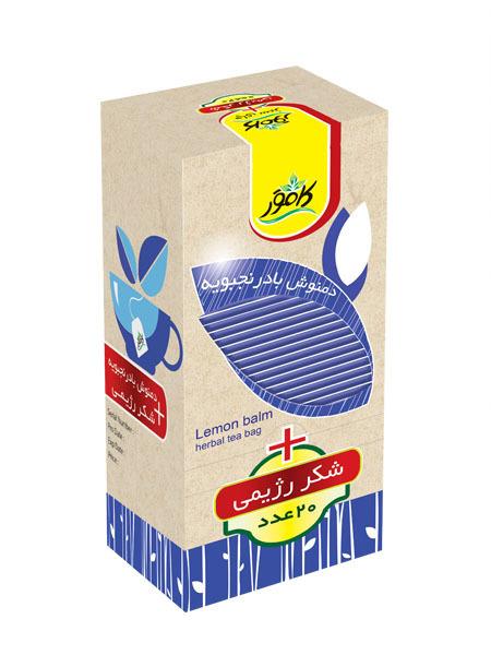 خرید آنلاین دمنوش بادرنجبویه به همراه شکر رژیمی کامور فروشگاه اینترنتی وجیسنک محصولات رژیمی کامور بدون قند