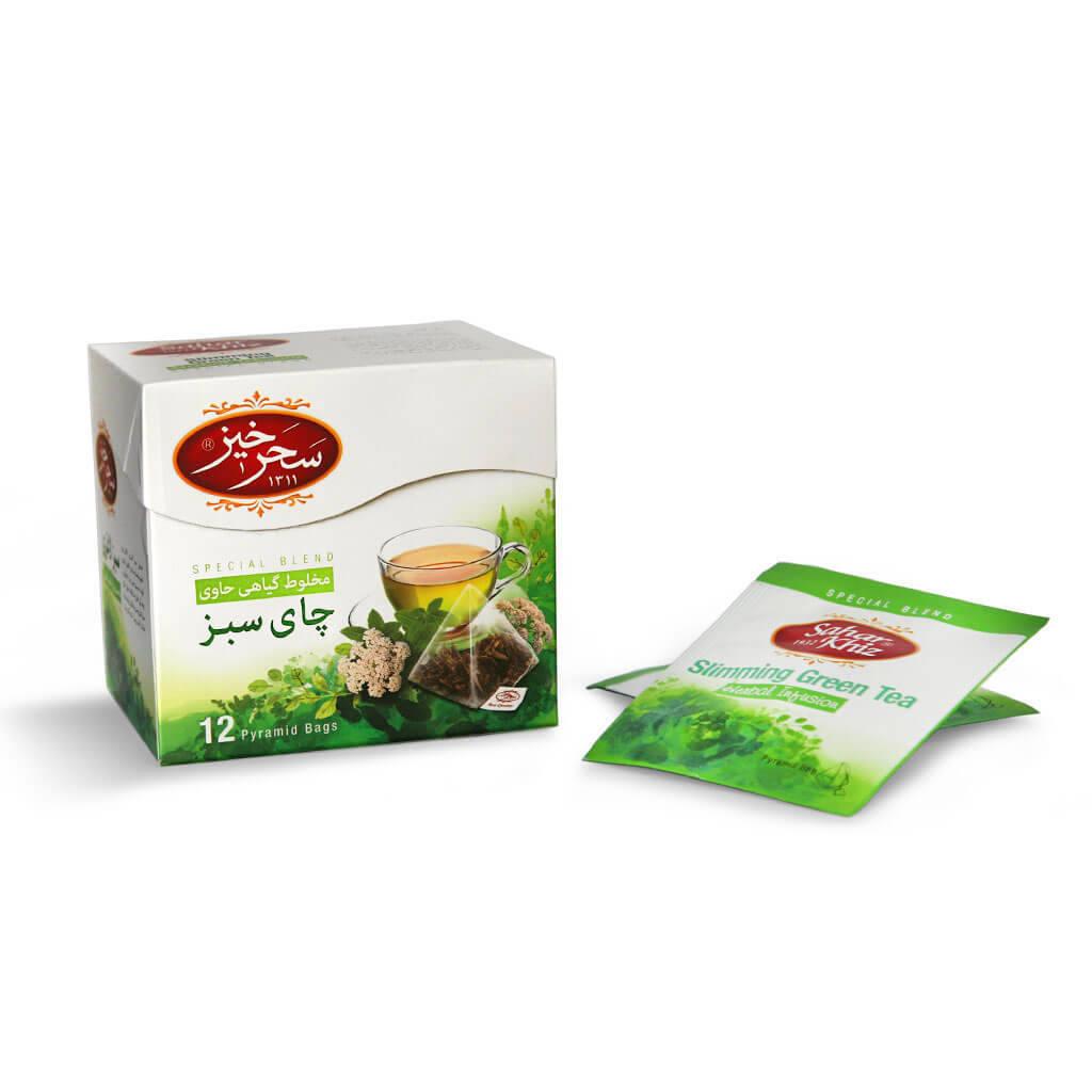 دمنوش گیاهی هرمی 12 عددی چای سبز سحرخیز خرید انلاین دمنوش و محصولات سحرخیز
